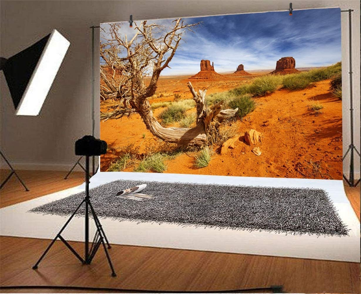 10x6.5ft Dusk Gobi Desert Decayed Tree Grass Weathered Mountains Scenic Background for Photography Desolate Place Nature Scenery Backdrop Landscape Wallpaper Studio Props