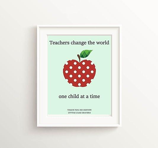 Apple for the Teacher Custom Teacher Print - Teacher Appreciation Gifts - Personalised Poster Gift