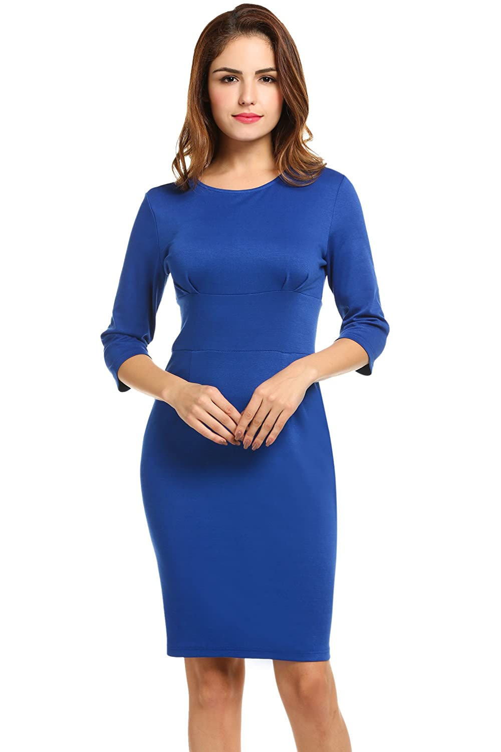 Meaneor Women 3/4 Sleeve Solid Business Party Bodycon Pencil Dress MAH006524