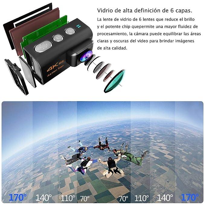 HENGKEXIN Cámara Deportiva 4K Ultra HD, Videocamara WiFi subacuatica de 30m de Profundidad, Pantalla LCD de 2 in,20MP, Control Remoto 2.4G, 2 baterías ...
