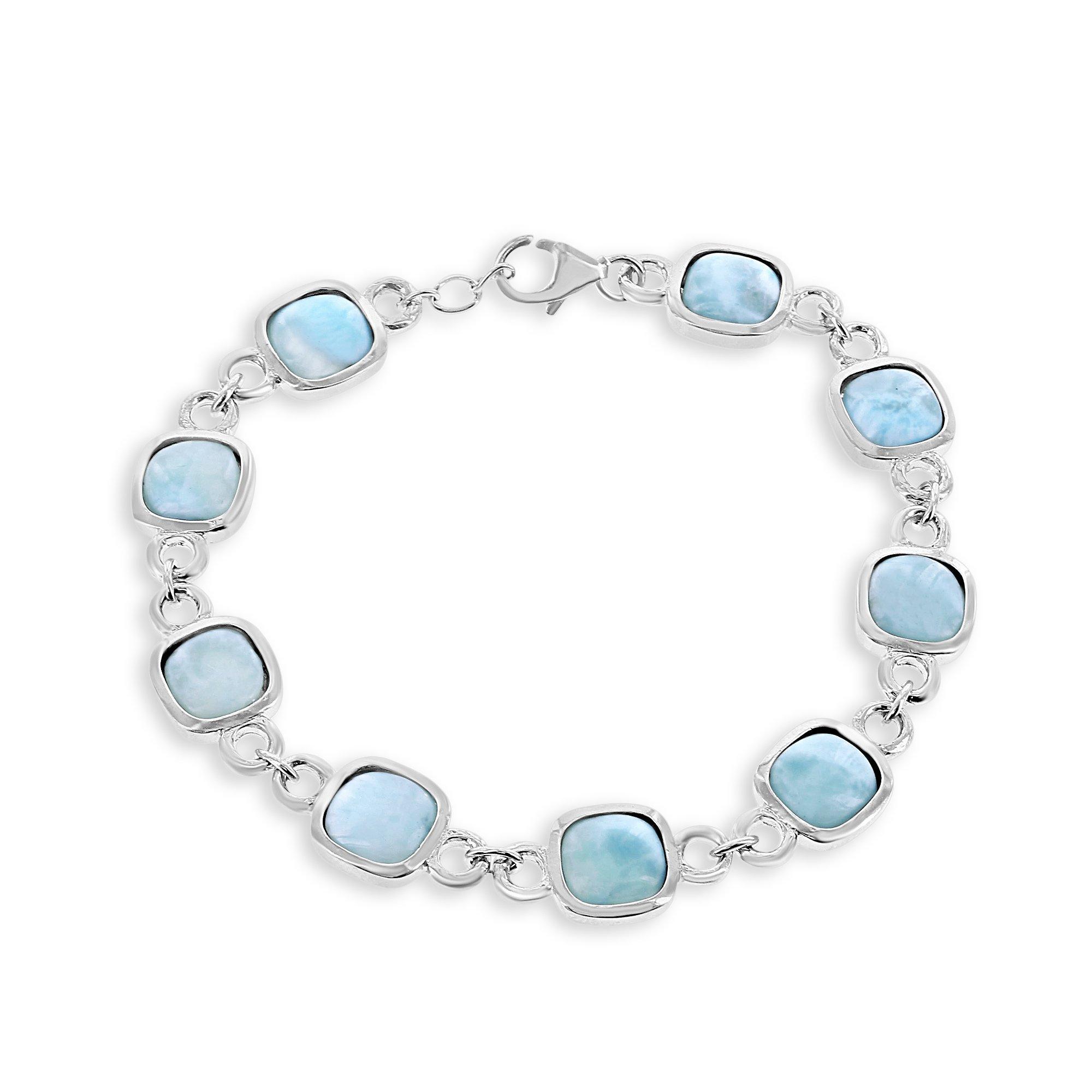 Sterling Silver 7.5'' Natural Larimar Square Stone Link Bracelet