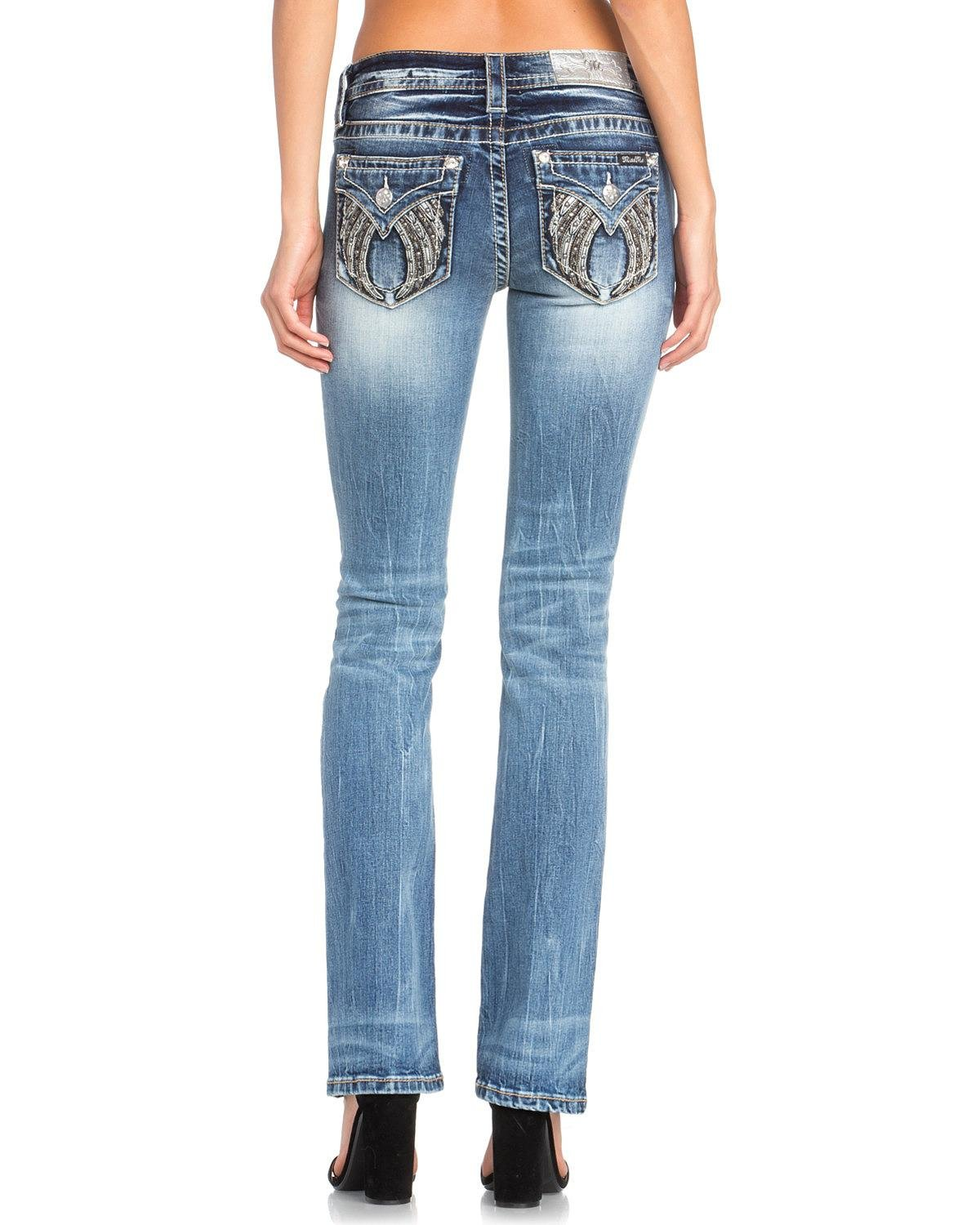 Miss Me Women's Studded Wing Slim Boot Cut Jeans Indigo 28
