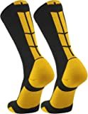 TCK Elite Performance Crew Socks (Black/Gold, Small)