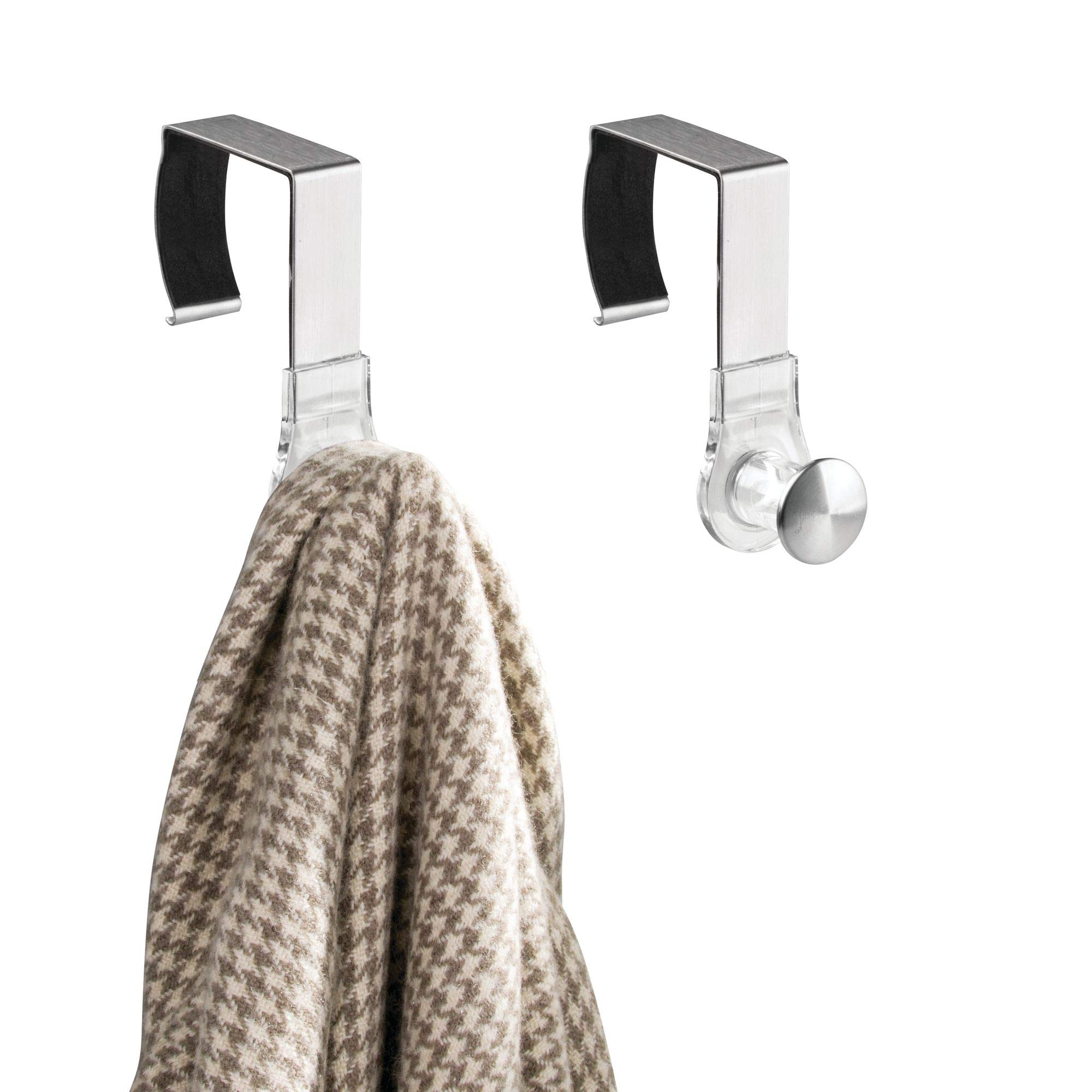 mDesign Modern Metal and Plastic Office Over the Cubicle Storage Organizer Hooks - Wall Panel Hangers for Hanging Accessories, Coats, Hats, Purses, Bags, Keychain - 2 Pack - Clear/Brushed