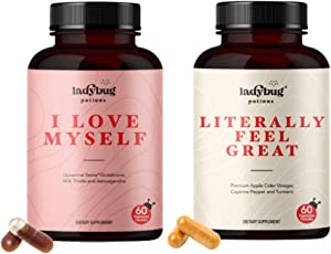 Ladybug Potions Literally Feel Great and I Love Myself, Beauty and Wellness Bundle, 60 Capsules