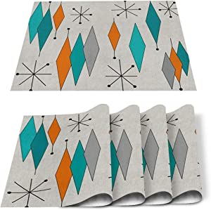 Cloud Dream Home Placemats, Heat-Resistant Placemats Europen Modern Mid Century Anti-Skid Washable Polyester Table Mats Retro Prismatic Kitchen Dining Table Decoration - Set of 4