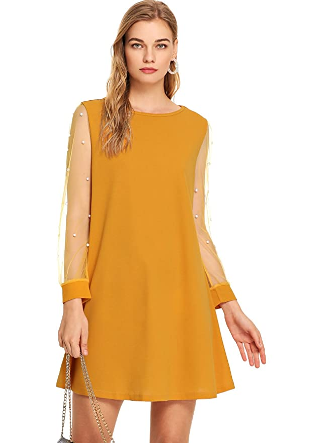 500 Vintage Style Dresses for Sale | Vintage Inspired Dresses DIDK Womens Tunic Dress with Embroidered Floral Mesh Bishop Sleeve $20.99 AT vintagedancer.com