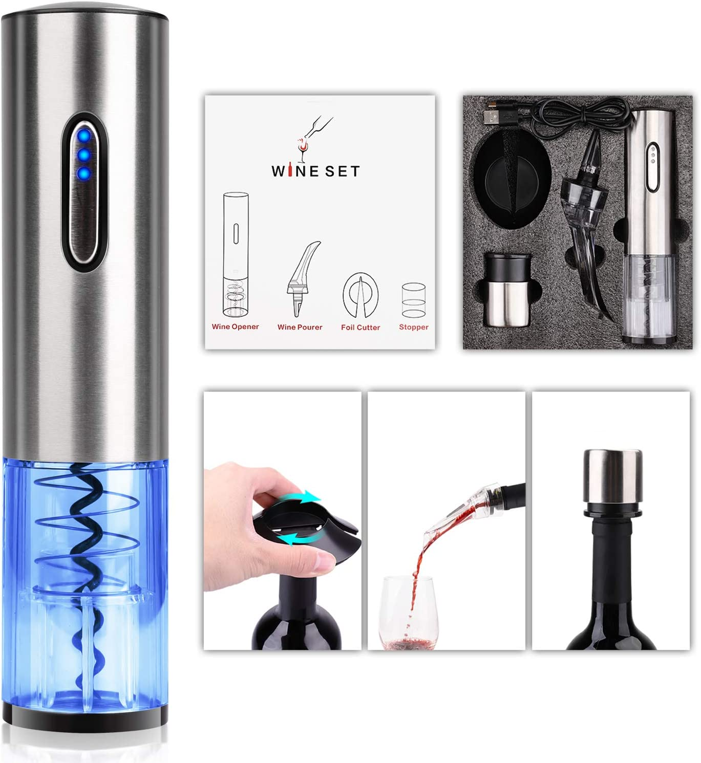 COMPONALL Electric Wine Opener Set, Premium Stainless Steel Electric Corkscrew, USB Rechargeable Cordless Wine Bottle Opener Kit with Foil Cutter, Wine Pourer, Vacuum Wine Bottle Stopper