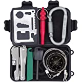 Outdoor Survival Kit for Camping Hiking Hunting Travel Selfhelp SOS Gear Emergency Tools Pack with Fire Starter, Carabiner, Survival Whistle, Credit Card Tool, Compass, Wire Saw, Pliers