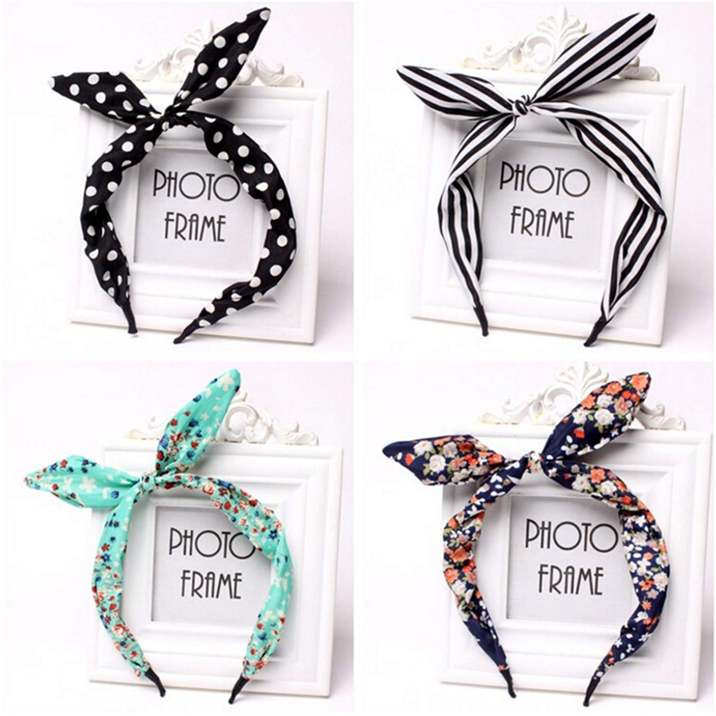 Cute Leopard Dots Lip Print Flower Bunny Rabbit Ear Ribbon Headwear Hairband Metal Wire Scarf Headband Hair Band Accessories 1Pc,BK2