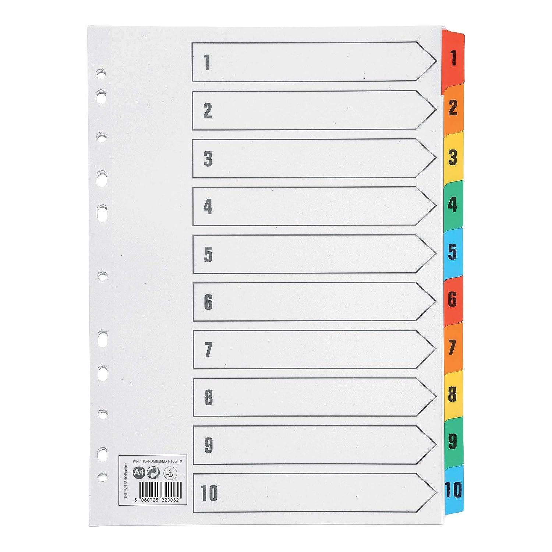 A4 numerados de 1 a 10 10 unidades con pesta/ñas de color reforzadas multiperforadas Separadores de archivos 150 g//m/²