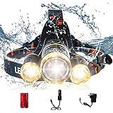 AUSELECT Waterproof 3LED Headlamp 4 Modes 6000 Lumen Flashlight T6 Headlight Helmet Light for Hunting Camping Running…