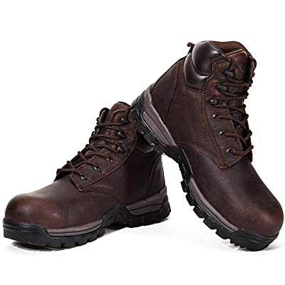 Amazon.com | ROCKROOSTER Men's Work Boots, 6'' Composite Toe, Non-Slip Rubber Safety Shoes, Hydroguard Waterproof Oiled Leather Boot, Arch Support Anti-Fatigue, Kevlar Puncture, EH (AT697Pro DB | Industrial & Construction Boots
