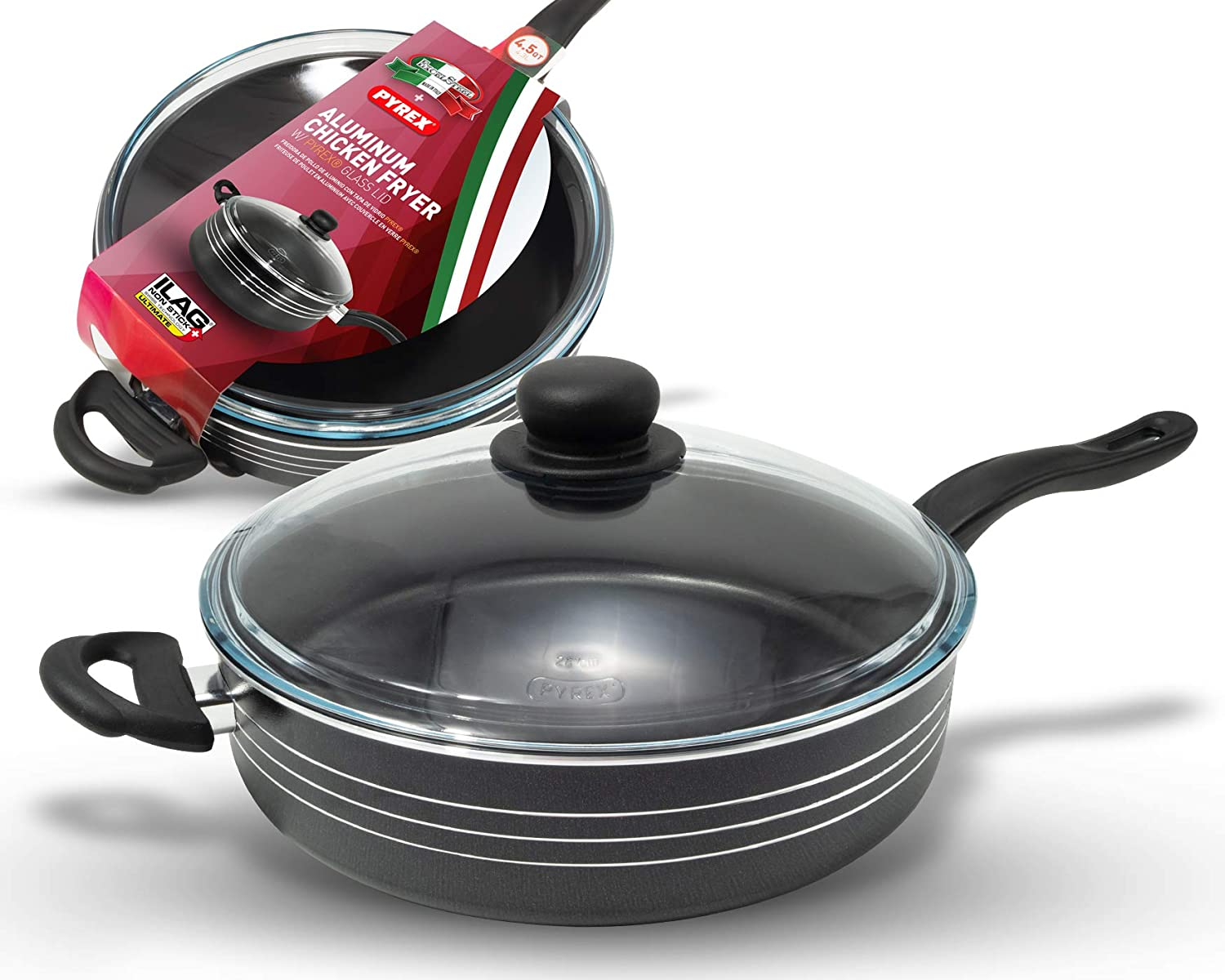 ExcelSteel W/Pyrex Glass Lid and ILAG Non-Stick Coating Aluminum Chicken Fryer, 4.5 Qt, Black