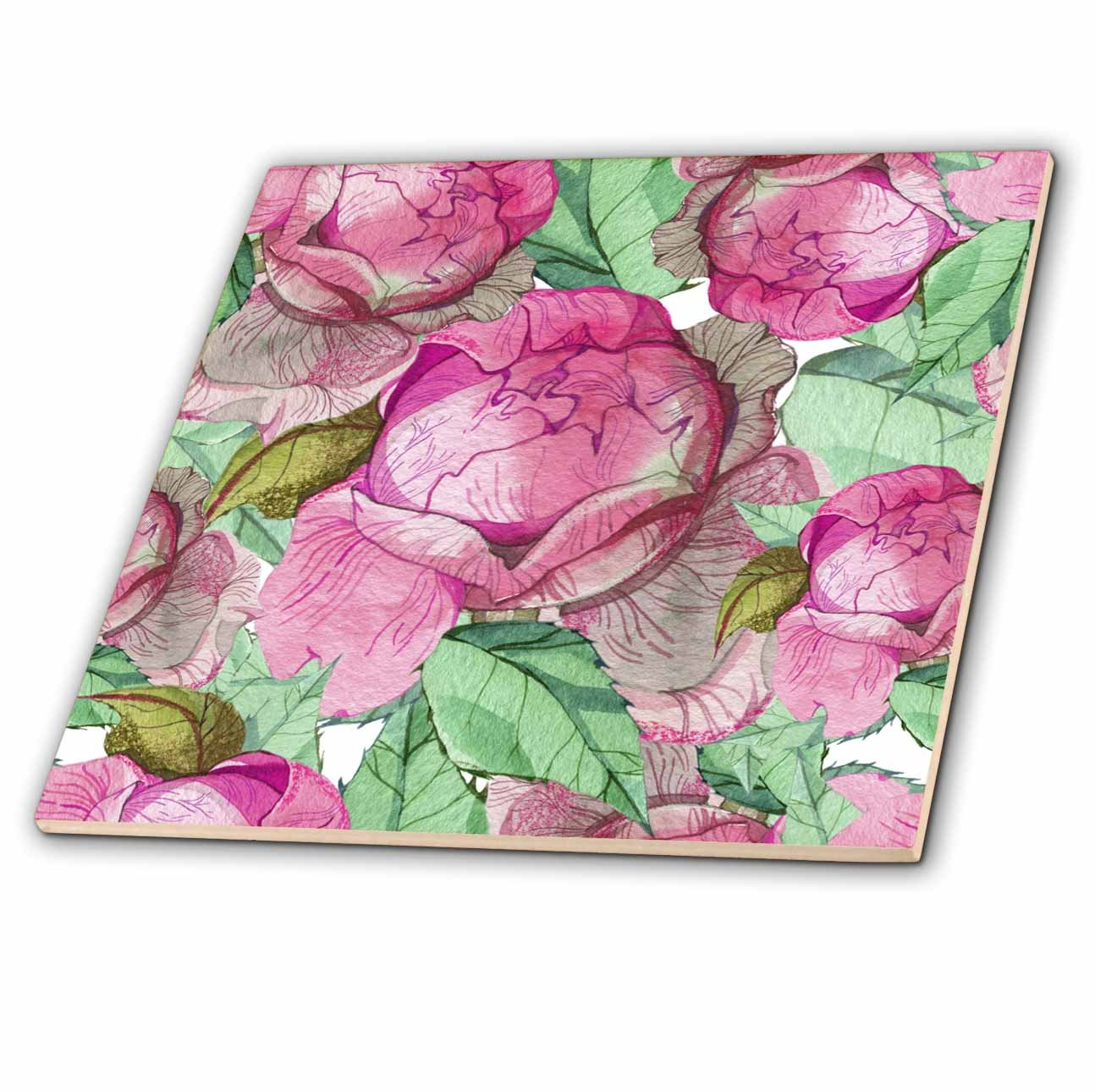 Amazon Com 3drose Anne Marie Baugh Patterns Chic Pink And Green Watercolor Large Floral Pattern 8 Inch Ceramic Tile Ct 283441 3 Home Kitchen