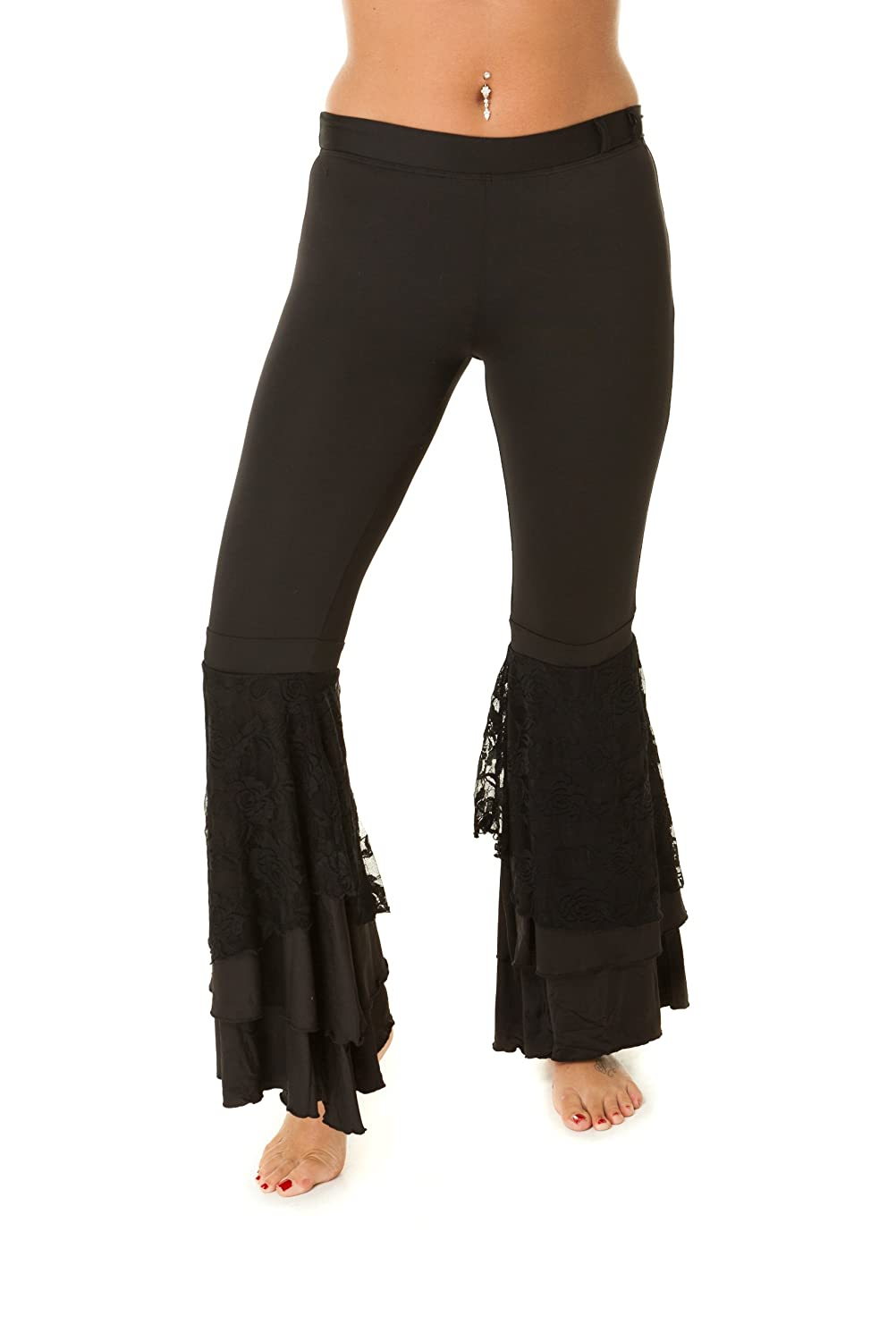 Bauchtanz Tribal Harem Hose mit Spitze lateinischer Leggings Yoga Hose Hose Schwarz M/L The Turkish Emporium DF0066pants