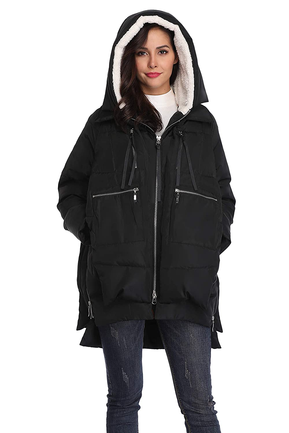 d6f339e38 Shanghai Bund Women's Thickened Down Jacket with Hood Winter Warm Hooded  Parka Coat