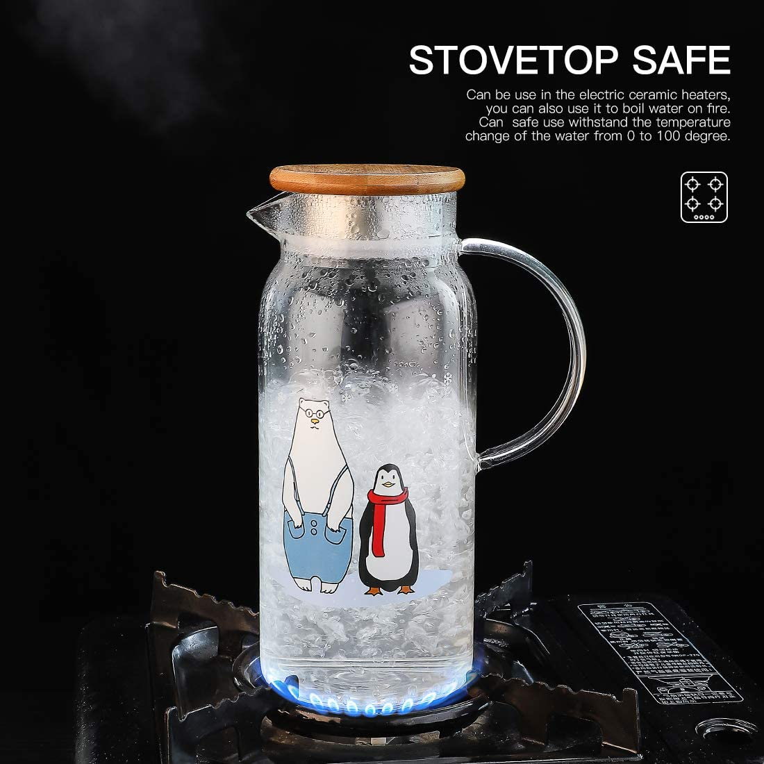 1 Pot+4 Cups GOODESERVE 1.6L Glass Water Kettle Set and 4Cups Set Household Juice Drying Cups Teapot Water Glass Jug Cute Animal Pattern Heat-Resistant Glass