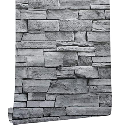 Haokhome 1633 Faux Stone Brick Wallpaper Peel And Stick Prepasted