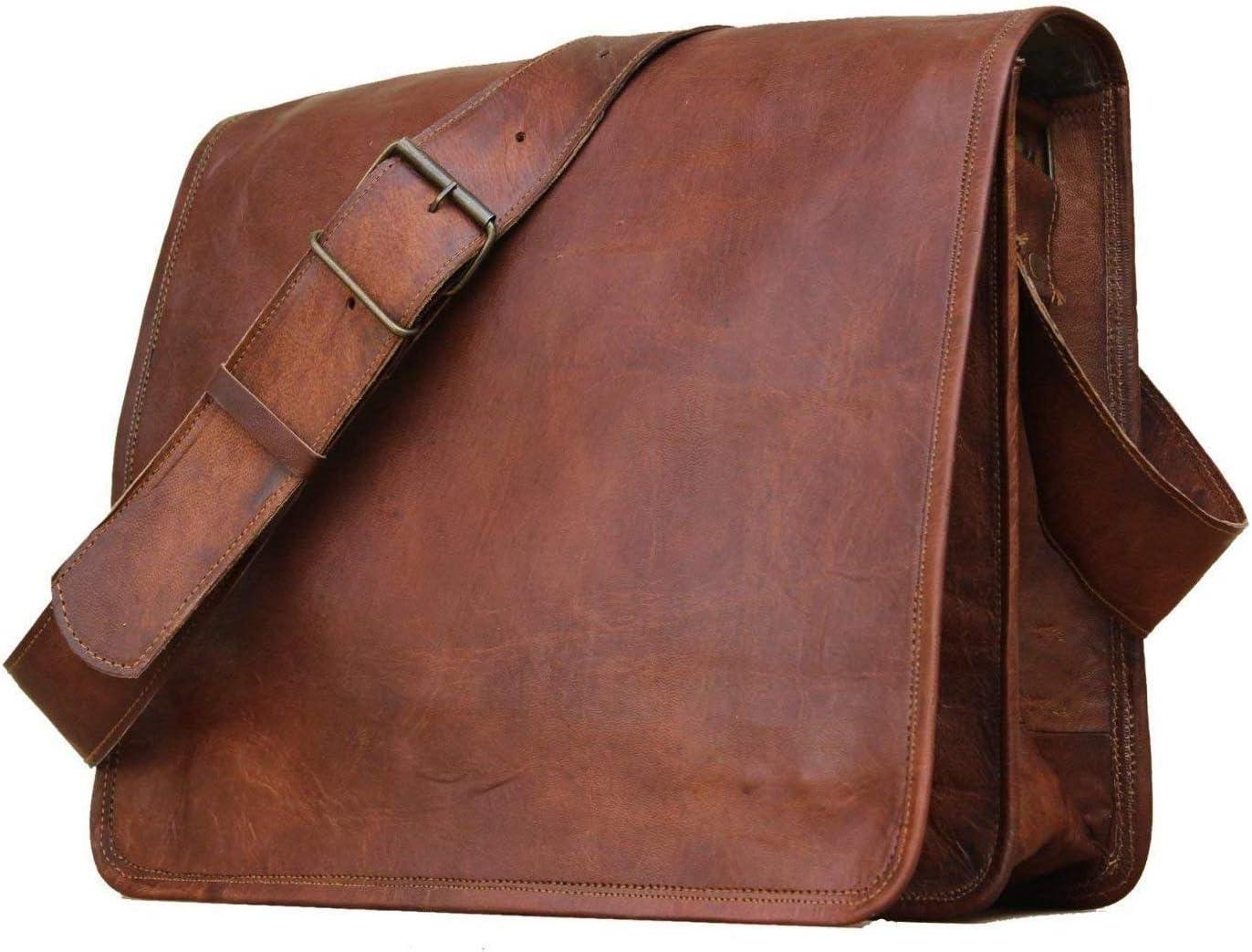 Bolso maletín de Cuero Bolsa de Hombro Universidad Colegio Trabajo de Negocios Bolsa Genuina (16X12X4)