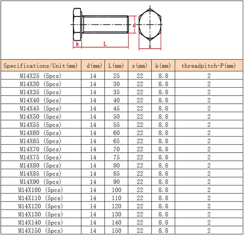Xiedeai Quincaillerie Externe Hexagonale Boulons Acier Inoxydable Rallonger Enti/èrement Filet/ée Vis de Pression Ext/érieur Hexagone M/écanique Boulon M14