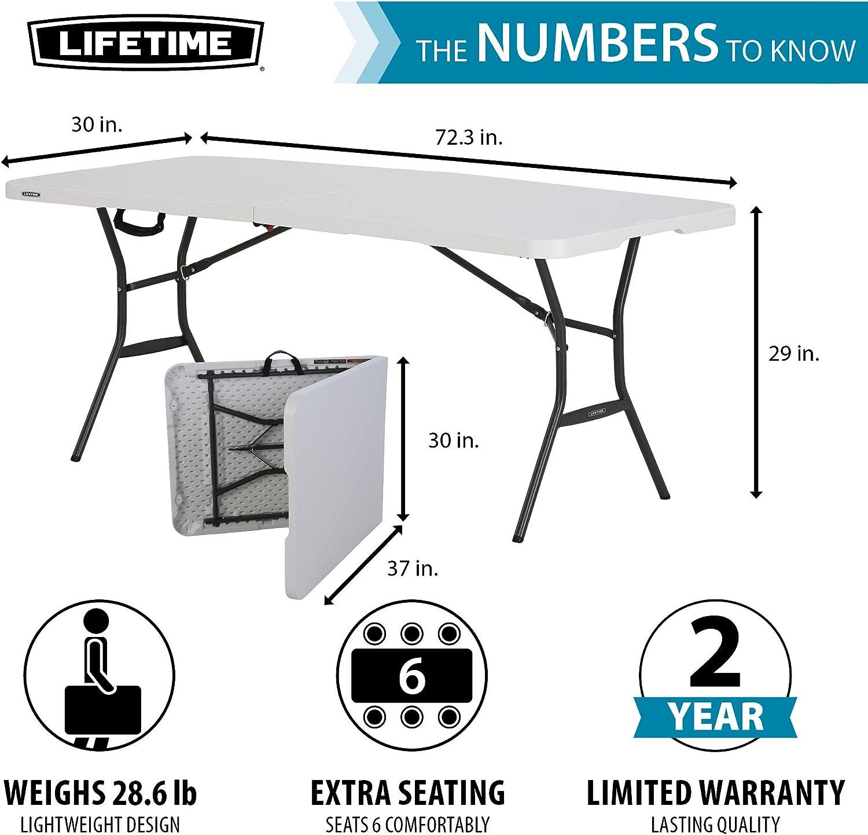 Lifetime 10 Fold In Half Light Commercial Table, 10 Feet, White Granite