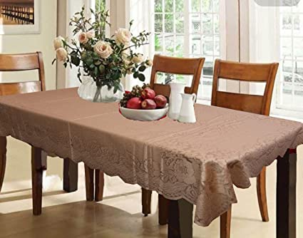 Kuber IndustriesTM Designer Dining Table Cover Brown Cloth Net For 6 Seater 60 90 Inches Self Design Amazonin Home Kitchen