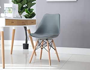Porthos Home Mid-century Eames Style Modern Dining Cushion and Beech Wood Dowel Legs, Easy Assembly, One Size, Gray (Single Chair)