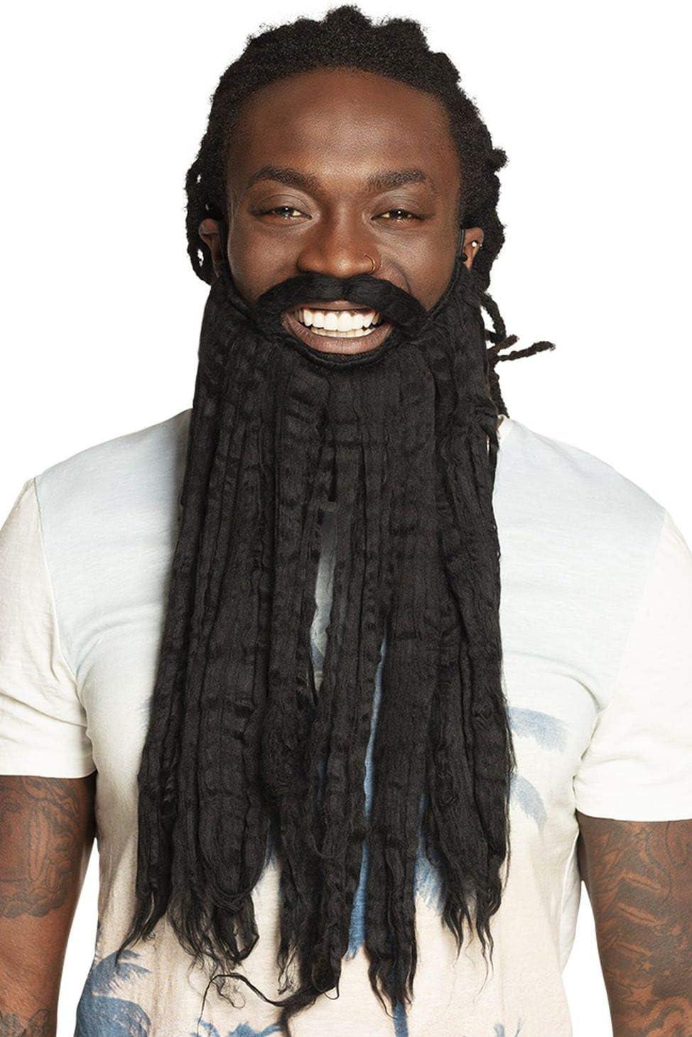 Long Reggae Full Beard Fake-Bart Rastafari Dreads Afro-Bart Rastabart Dreadlocks