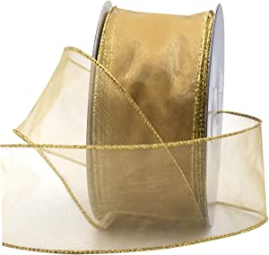 """Gold Organza Wired Sheer Ribbon 2.75"""" (#40) for Floral & Craft Decoration, 50 Yard Roll (150 FT Spool) Bulk by Royal Imports"""