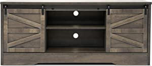 Becko Silding Barn Door TV Stand Entertainment Center and Media Console Television Cabinet with Storage Shelves Fits TV up to 65'' for Living Room Rustic Style - Gray