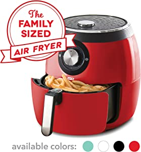Dash DFAF455GBRD01 Deluxe Electric Air Fryer + Oven Cooker with Temperature Control, Non Stick Fry Basket, Recipe Guide + Auto Shut off Feature, 6qt, Red