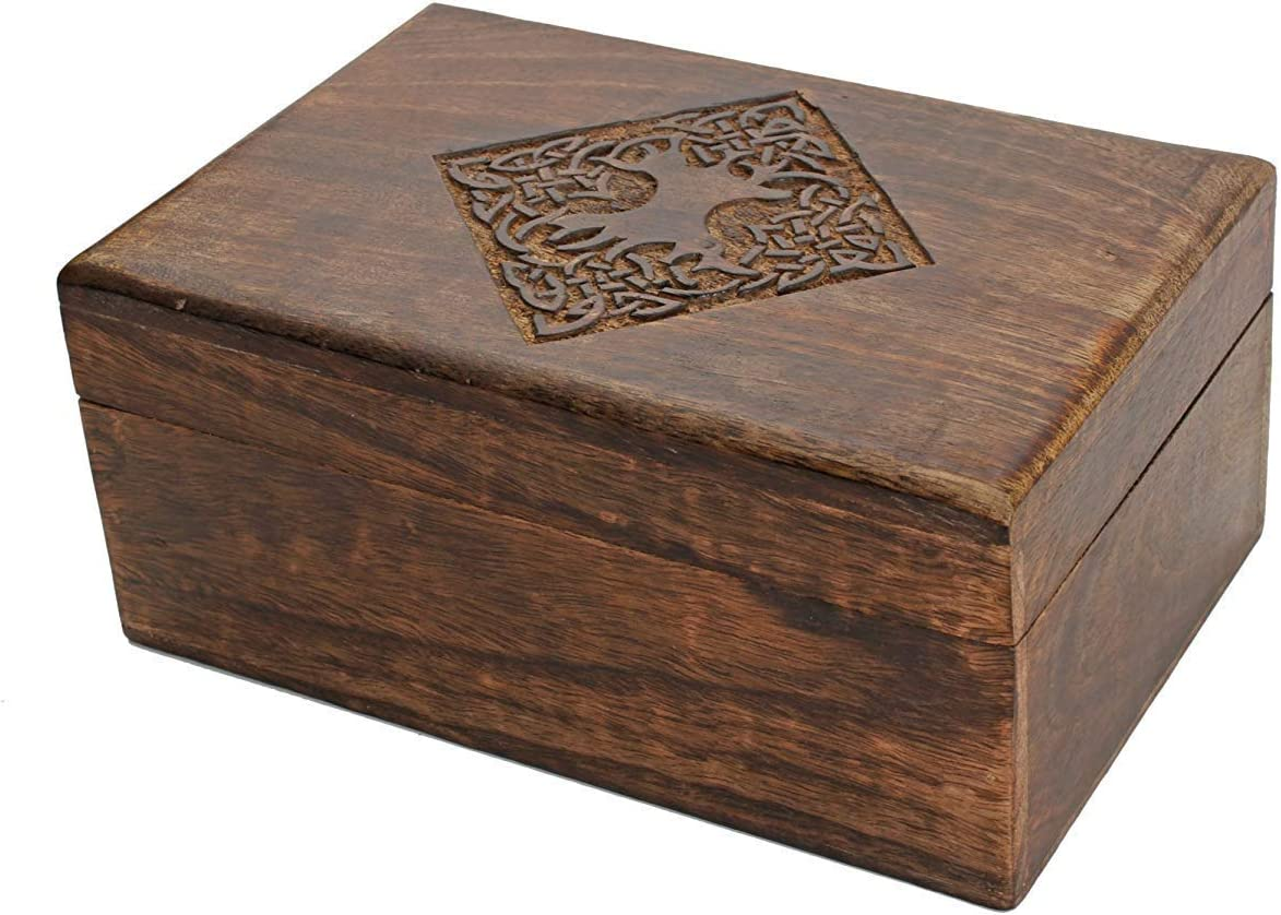 Nirvana Class Handmade Wooden Jewellery Trinket Box Keepsake Storage Organizer with Hand Carved Celtic Design