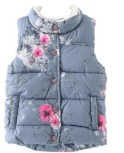 ナナコレクションNana_Collection秋キッズ子供おしゃれ花柄きれいめボアポケット中綿ダウンベストグレー120cm