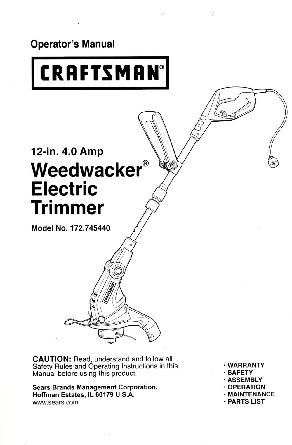 craftsman 12 inch electric line trimmer manual