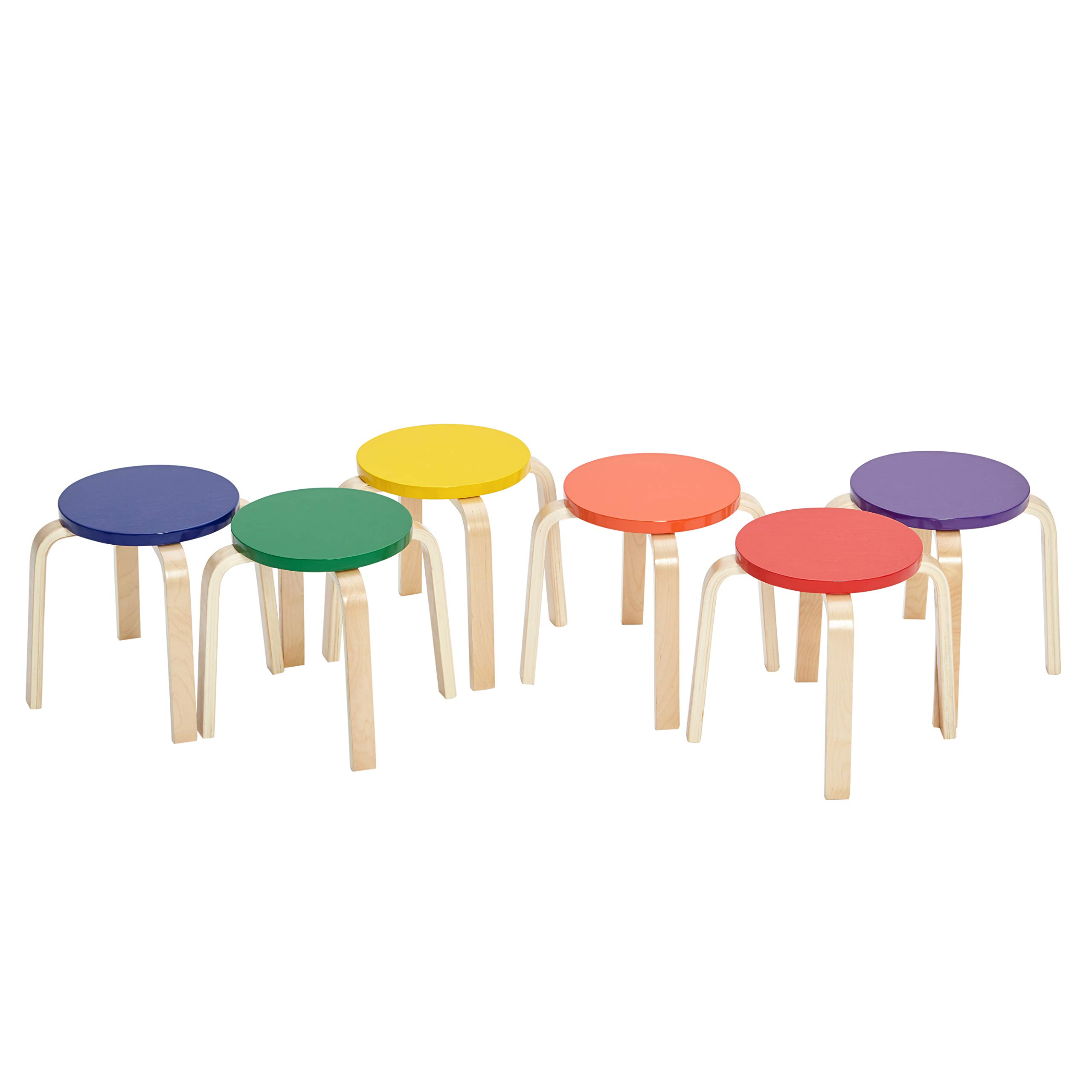 ECR4Kids Bentwood Stacking Stools for Kids, 12'' H, Assorted (6-Piece Set) by ECR4Kids (Image #1)