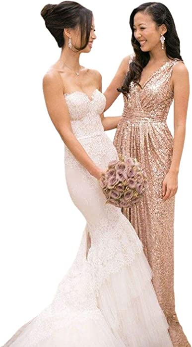 02494a5d23 Lorderqueen Women s Long Rose Gold Sequins Bridesmaid Plus Size Party Dress  Size 2 Rose Gold1