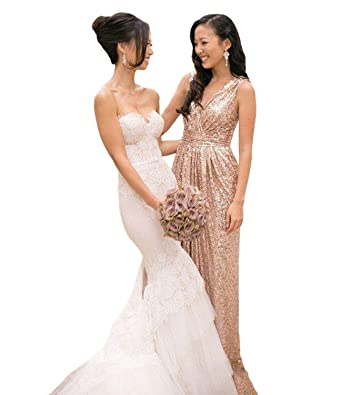 Lorderqueen Womens Rose Gold Sequined Long Bridesmaid Dress Wedding