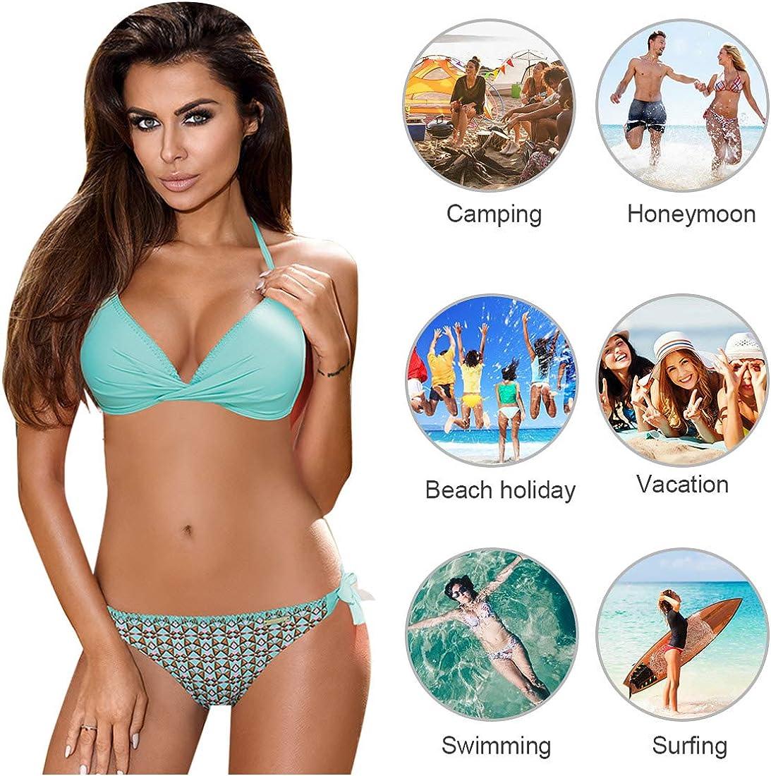 Tuopuda Mujer Multicolor Cabestro Bikini Conjuntos de Cintura Baja Ajustable Bikini Inferior Impresa Raya Playa Traje de Ba/ño