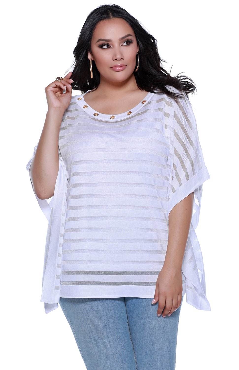 Women's plus size shadow stripe poncho with grommets at the neckline plus camisole - 1X - Viscose/Nylon