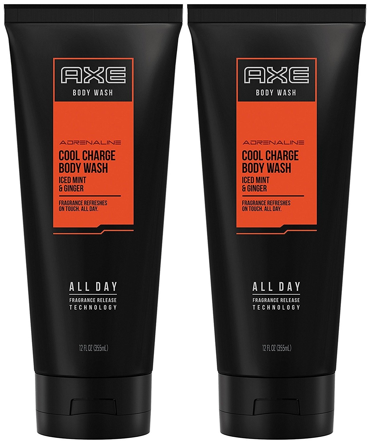 Axe Cool Charge Body Wash, Iced Mint & Ginger, 12 Oz. Tube, (Pack of 2)