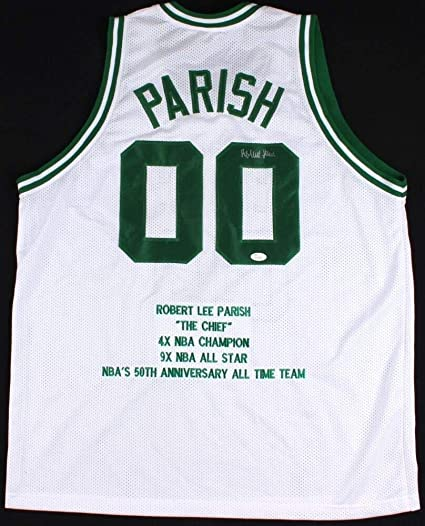 512261b58 Robert Parish Autographed Signed Celtics Career Highlight Stat Jersey - JSA  Certified