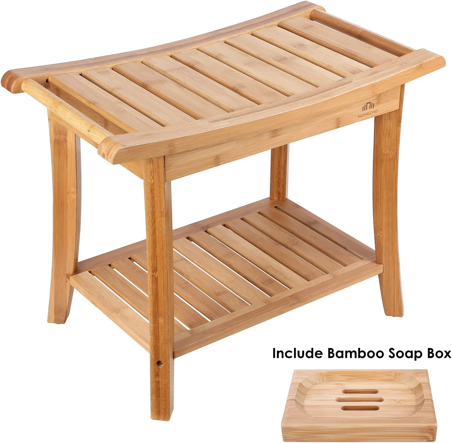 "HOMECHO Bamboo Shower Bench Stool Seat with Shelves Waterproof Wooden Bath Spa Bathroom Storage Organizer 23.6"" Large, Non Slip, Indoor Outdoor HMC-BA-001 716cnf1Hx7L"