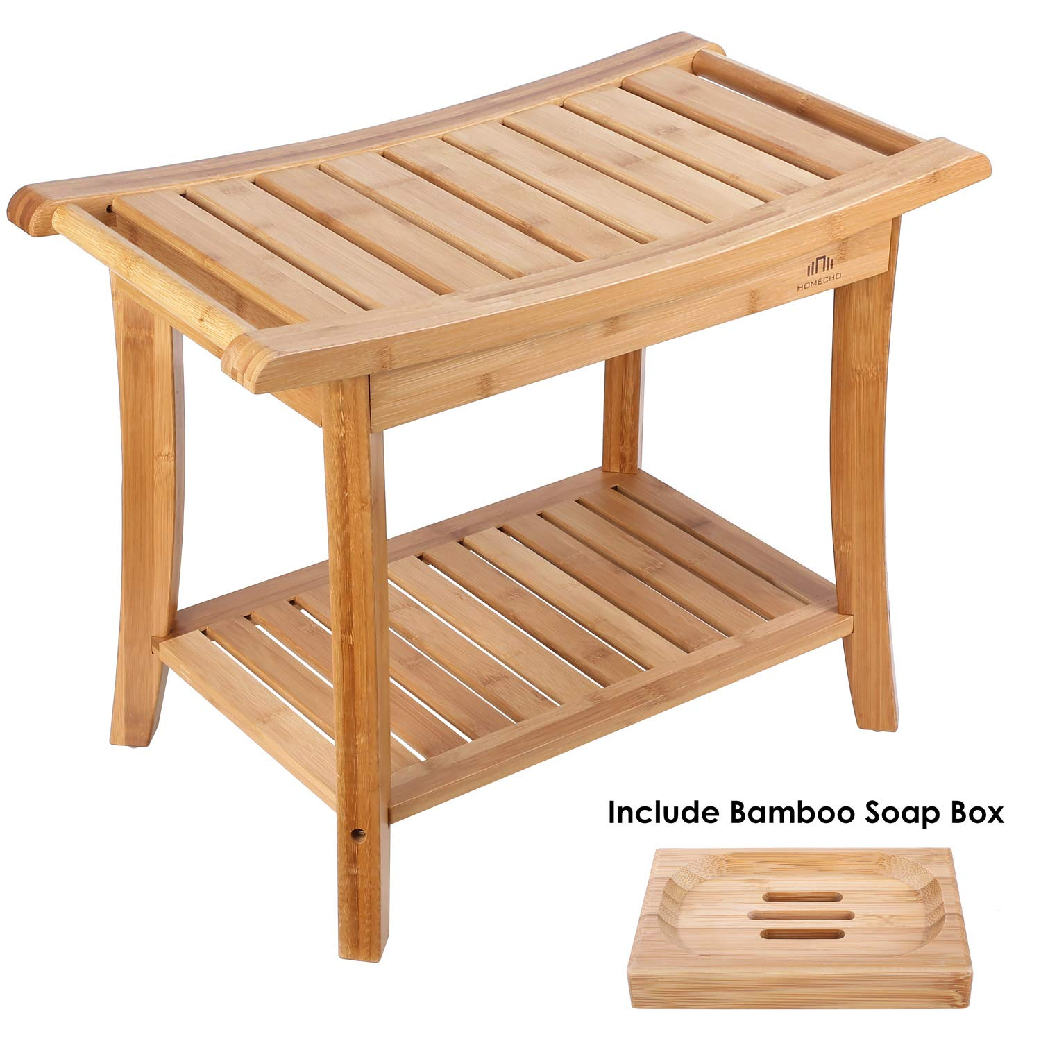 HOMECHO Bamboo Bath Shower Bench Seat Stool with 1 Soap Box for Spa Bathing and 2-Tier Storage Shelf with 2 Handles for Indoor and Outdoor HMC-BA-001