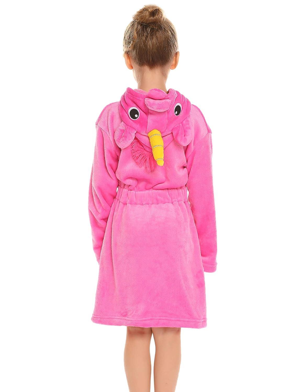 Balasha Kids Soft Bathrobe Unicorn Flannel Robe Unisex Hooded Sleepwear