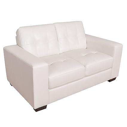 Incredible Amazon Com Corliving Lzy 111 L Club Leather Loveseat White Frankydiablos Diy Chair Ideas Frankydiabloscom