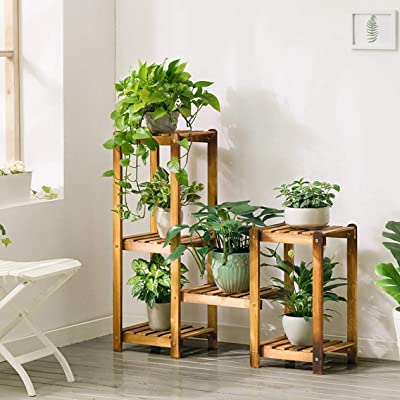 LRW Originality Indoor Solid Wood Flower Stand Floor Multi-Layer Save Space Flower Pot Rack Balcony Living Room Flower Stand: Garden & Outdoor