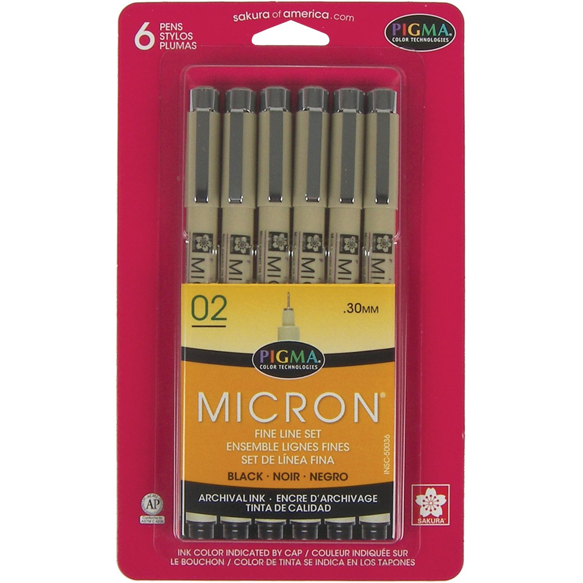 Sakura, penna ad inchiostro Pigma Micron, in blister di carta, Altro, Multicoloured, 3.27 x 12.79 x 19.78 cm 50036