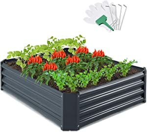 CEED4U 5.7 x 3 x 1 Feet Metal Raised Garden Bed with 4 Pcs Garden Stakes, 15 Pcs Plant Labels and Gloves, Elevated Vegetable Planter Box for Vegetables, Fruits, Flowers, Herbs, Succulents (Dark Grey)
