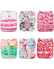 ALVABABY Cloth Diaper Pocket Washable Adjustable Reuseable Boy&Girl Nappies 6 Pack+12 Inserts Gift Sets 6DM06-CA